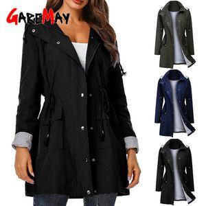 Spring Autumn Fashion Windbreaker Woman Rain Jacket Running Hooded Outwear Zipper Waterproof Coat Jackets Women Outwear Cardigan 201030