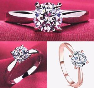 Anillo de diamantes de Mosanita Femenino Classic Seis Claw Platinum Propone Anillo Diamante Para enviar Girlfriend Fashion Gift Souvenir