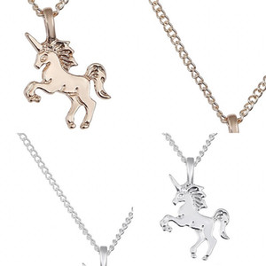Alaşım Unicorn kolye kolye Erkekler Kadınlar Moda Salkım Kaplama Altın Gümüş Takı Zincir Modern Stil 1 3pt F2B
