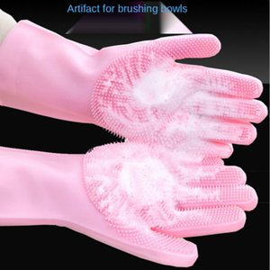 Silicone dishwashing gloves thickened oil-free multifunctional kitchen dishwasher household cleaning artifact heat insulation and anti