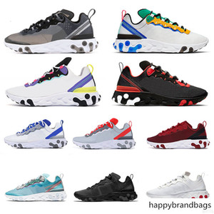 Top wholesale 2020 Bred Reacts Shoes React Element 55 87 Running Shoes Triple White Black Game Royal Sail Jade Breathable Sports Shoes 36-45