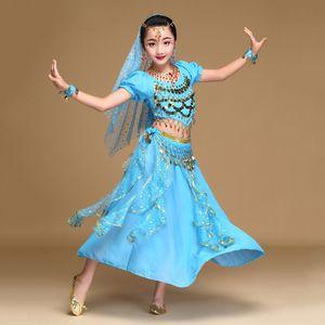 Sexy Belly Dance Terno Para Menina Azul Amarelo Vermelho Crianças Frete Grátis Frete Grátis Crianças Femine Indian Roupas Criança Garment Q4038