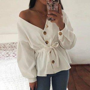 Fengguilai V Ansatz beiläufige Corduroy Shirt Frauen Herbst Lange Laterne Hülsen Sexy Schnür Top Fashion 2020 Frauen Tops und Blusen
