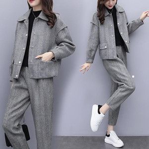 New 2021 gray winter wool two pieces of define jacket + women's fashionable pantsuit pants ladies 2-bun female sets y486 ESYX G6KW