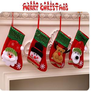 200pcs Mini Christmas Hanging Socks Cute Candy Gift bag snowman santa claus deer Stocking for Christmas Tree Decor ornament Pendant gifts