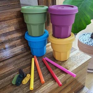 400ml tazze di caffè in silicone con il coperchio di paglia variopinti del bambino Sippy Tazze con bottiglie di polvere Cappellino morbido Playinum Acqua silicone portatile Tazze FWD2275