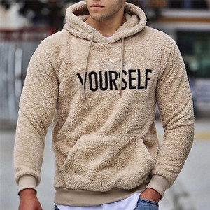 Hommes d'hiver automne chaud en peluche en peluche en peluche Sweatshirts Casual à manches longues lettre imprimée pull à capuche à capuchon de kangourou