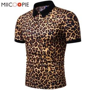 2020 Summer Mens Shirt Brands Night Club Leopard Printed Turn Down Collar Short Sleeve Male Homme Tees Tops M-XXXL