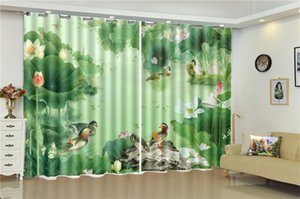 Landscape Curtain Promotion Beautiful Lotus Lucky Bird Custom Living Room Bedroom Beautifully Decorated Curtains