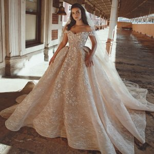 Luxury Champagne Wedding Dresses 2020 A Line Applique Beads Vestidos De Novia Lace Customize Sweep Train Country Bridal Gowns