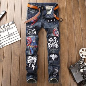 New style washed and worn embroidery badge men's stitching SLIM STRAIGHT elastic jeans