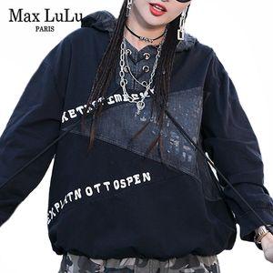 Max Lulu New 2020 Spring Fashion Ladies Patchwork Sudaderas con capucha Sudaderas para mujer Negro Casual Sudaderas Punk Style Streetwear Plus Tamaño