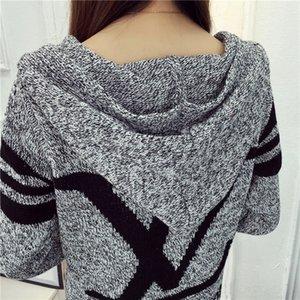 Frühling und Herbst lange koreanische Version von losen Strickpullovern Pullover Hoodie Strickjacke mit langen Ärmeln Frauen-Pullover