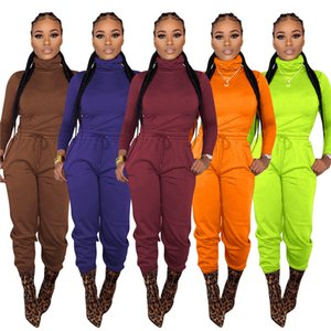 Donne da donna Set di due pezzi autunno Colore solido Casual Casual Collo Abiti Bandge Designer TrackSuits Abbigliamento femminile