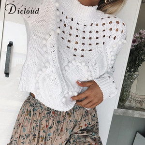 DICLOUD Hollow Out White Sweaters Women Autumn Winter Turtleneck Long Sleeve Knitted Jumpers Casual Ladies Pullovers Black 200929