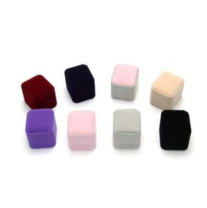 Jóias caixa de veludo anel caixa de armazenamento quadrado organizador de embalagem de presente para armazenamento de jóias dobrável presente de casamento festa suprimentos gwc5451