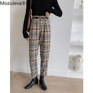 Mozuleva 2020 de la cintura otoño comprobó el vestido femenino de los pantalones de Nueva Inglaterra Oficina Señora para mujer pantalones pantalones de trabajo para mujer