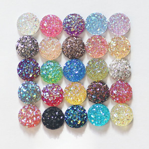 Fashion 50pcs 10mm Mix Colors Druzy Charms Natural Stone Convex Flat Back Resin Cabochons Charm Beads for Jewelry DIY Accessories