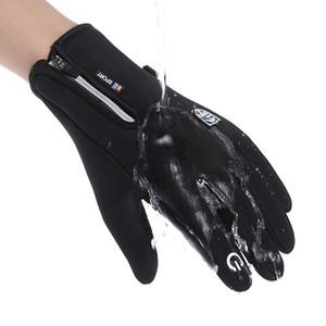 Warm im Winter Fahrradhandschuh wasserdicht winddicht Anti-Rutsch-Außen Thermal Handschuhe plus Samt Männer Frauen Zipper Screen-Handschuhe DWF3107