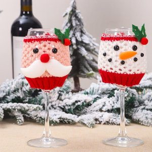 1set Christmas Wine Glass Cover Set Wool Santa Claus Snowman Wine Bottle Cover Christmas Table Decorations for Home Dinner Party