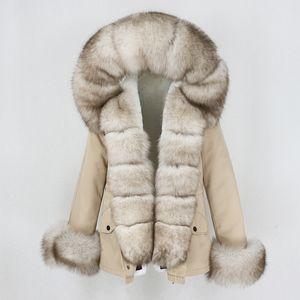 OFTBUY New Waterproof Short Parka Winter Jacket Women Real Fur Coat Natural Fox Fur Collar Hood Warm Streetwear Detachable 201016