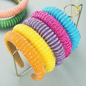 Full Crystal Elegant Sparkly Fandbands per le donne Shiny Strass imbottito Sponge Sponge Sponge Headband Head Hoop Accessori per capelli Diamond