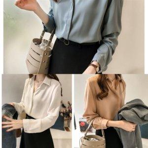 VYU Neue koreanische stil pure color top designer shirt frauen langarm top einfache chiffon basis shirt