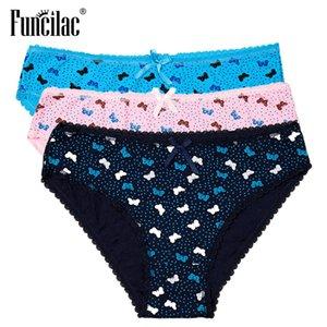 Calcinhas cato feminino cuecas sexy laço desliza flanders impressão plus size lingerie m-xxl funcilac