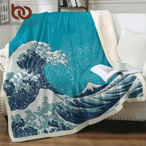 BettdingOutlet Great Wave Sherpa Decken Ozean Thema Bettdecke Mount Fuji Plüsch Bettspesen Vintage japanische flauschige Blanket1