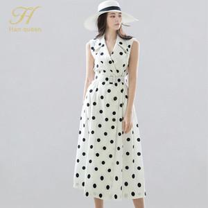 H HAN QUEEN летнее оккупация платья женщин зарезанные точка старинные платья простой пояс тонкий бизнес рабочая одежда Vestidos 2020 новый