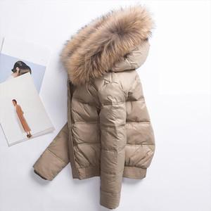Ailegog 2020 Winter Women Real Raccoon Fur Collar White Duck Down Hooded Jacket Short Coats Female Slim Casual Down Outerwear