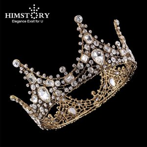 Vintage Vintage Clear Strass Beads Plein Couronne Couronne Accessoires pour cheveux Crystal de luxe Queen King Crowns Bridal Tiara