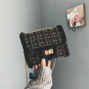 Women Bags Plush Wool Bag Tide Single Shoulder Small Square Handbags sac a main femme de marque luxe 30H