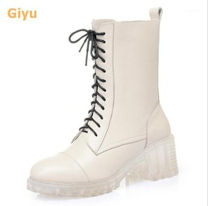 Boots 2021 Autumn Genuine Leather Women's Thick Heel Motorcycle Shoes Round Toe Lace-up Fashion Winter1