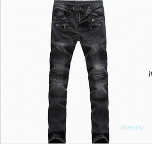 Wholesale -Men &#039 ;S Fashion Brand Designer Ripped Biker Jeans Men Distressed Moto Denim Joggers Washed Pleated Jeans Pants Black Blue o