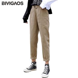 BIVIGAOS Новая весна Женская одежда Straight Комбинезоны Повседневная шаровары Корейский эластичный пояс треугольник Пряжка Cargo Pants Женщины A1105