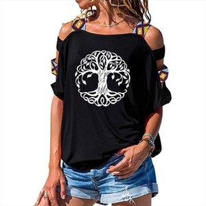 Mandala Circle Trees T Shirt Tree Women Loose Cotton Short Sleeve Female T shirts Fashion Hollow Out Shoulder Tees