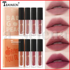Teayason Lip Makeup 4pcs / set opaco liquido rossetto nude Lipgloss Lip Tint Gloss idratante Long Lasting arancione Peach Mini Lip Kit