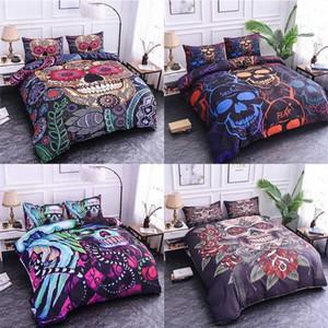 Комплект постельных принадлежностей для домашних чемоляций Череп Богемия Пододеятельная Крышка Королевский Квинс Постельное белье Квинс Постельное белье BedClothes Chiliter Cover Twin Полный размер Разместить #
