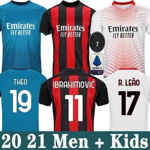 AC milan 20 21 soccer jersey IBRAHIMOVIC PAQUETA BENNACER TONALI ROMAGNOLI 2020 2021 football shirt CALHANOGLU REBIC maillot men + kids kit