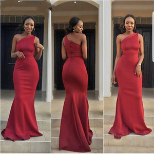 Dark Red Satin Prom Dresses One Shoulder Mermaid Long African Black Girl Evening Dress Formal Party Gowns vestidos Custom