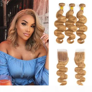 Body Wave 27# Colored Hair Bundles with Closure Malaysian Peruvian Brazilian Blonde Virgin Human Hair Weave with 4X4 Lace Closure