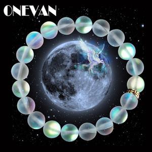 Regalos de la sirena del vidrio cristalino del Moonstone pulseras multicolor mate piedra brillante con cuentas pulsera hecha a mano del encanto pulsera de joyería