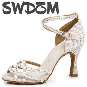 SWDZM Pearl rhinestone Latin dance shoes for Women Girls ladies ballroom dancing shoes sexy banquet high heels 5-10CM sandals 201017