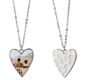 DHL Sublimation Blank Love Heart Shaped Necklace Pendant with Chain Metal Personality DIY Gift Fashion Necklaces Women Christmas