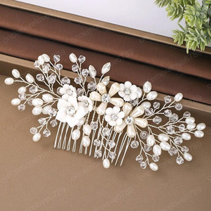 Handmade White Rhinestone Wedding Hair Combs Pins Crystal Flower Pearls Bride Hair Jewelry Accessories Hair Ornaments