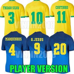 Jeux Version 20 21 Richarlison G.Jesus Jerseys de football Camiseta de Futebol Copa Amerİca 2020 2021 Coutinho 20 21 Shirt de football Brasil