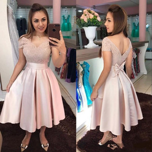 2021 New Short Blush Pink Homecoming Dresses Off Shoulder Lace Appliques Satin Bow Tea Length Ball Gown Arabic Prom Party Cocktail Gowns