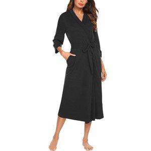 SAGACE Women Fashion Robe Belt 4 3 Sleeve V-neck Lightweight With Belt Long Robe Bathrobe Sleepwear Night Gown Night Dress MAY22 210203