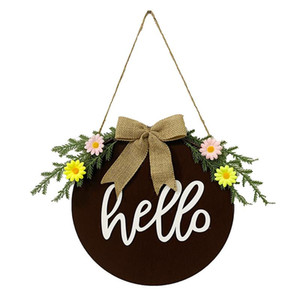 Home Decor Restaurant Round Hanging Wreath Garland Wooden Festival Supplies Outdoor Crafts For Front Door 30cm Welcome Sign